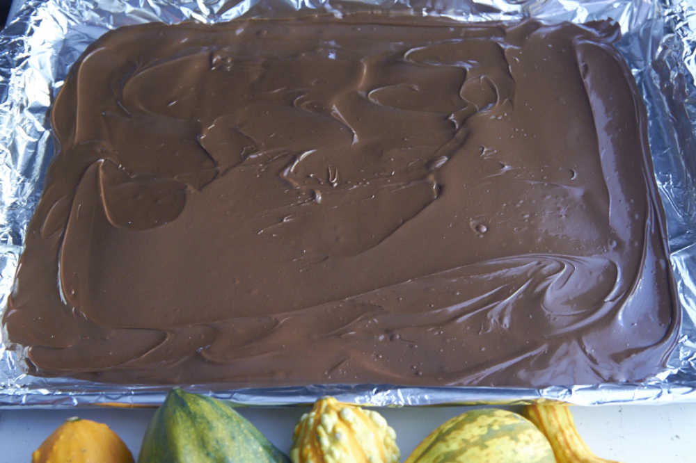 Melted chocolate spread onto a foil-lined baking sheet.