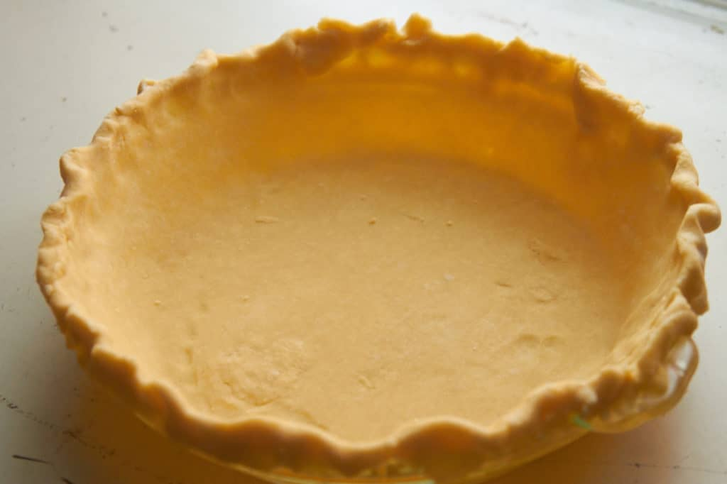Empty pie crust, prior to baking