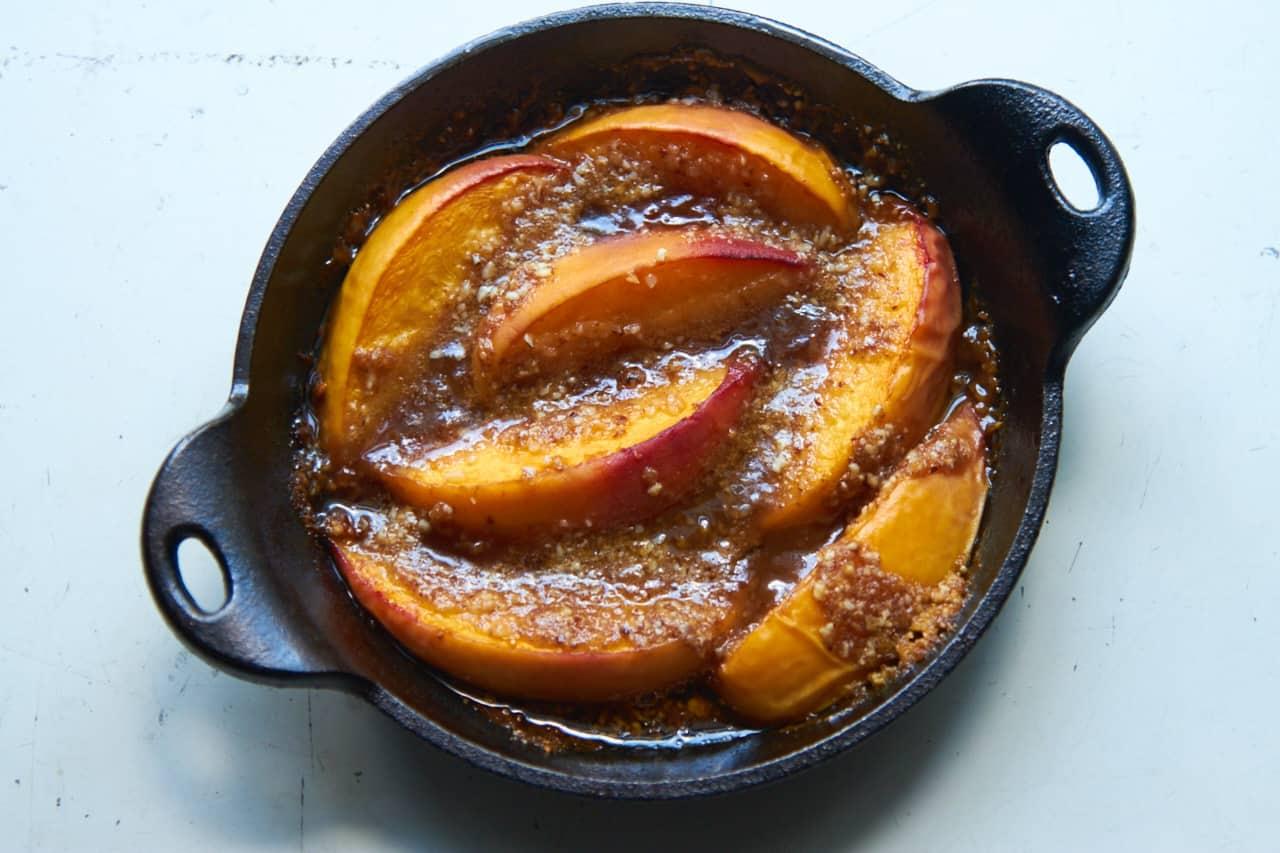 Peach crisp in cast iron dish