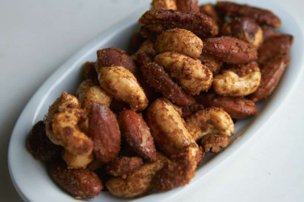 A dish of spiced nuts.