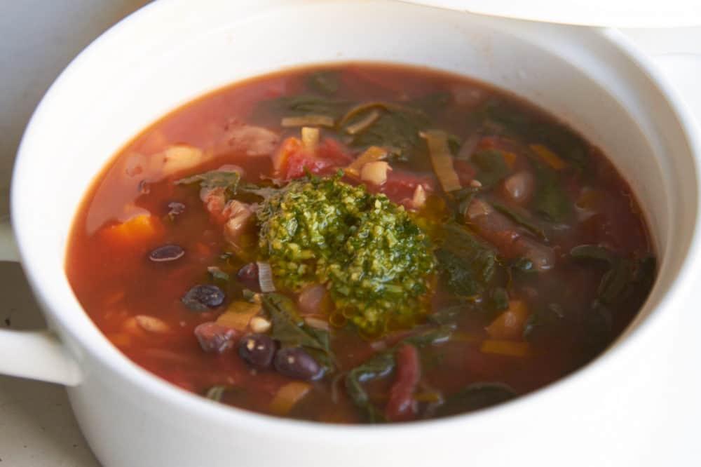 Soupe au Pistou in a white bowl.