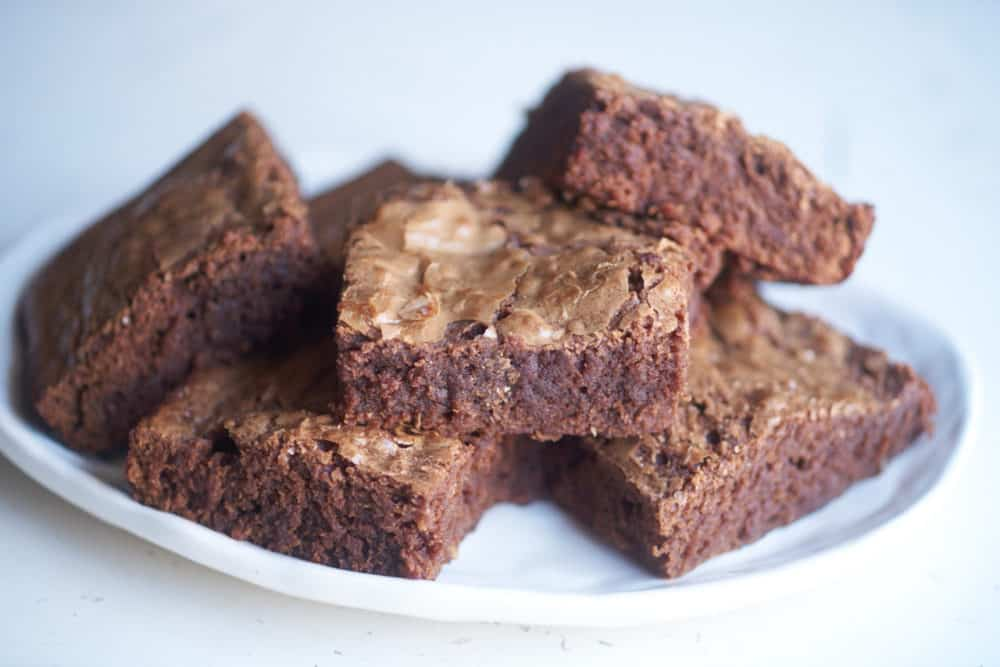 A plate of gooey dark chocolate brownies.