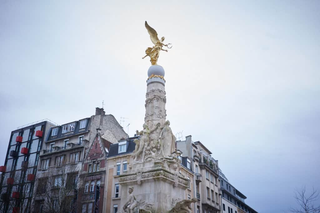 Subé fountain (Fontaine Subé) in Reims city center.