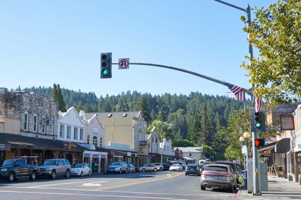 A view looking down the main street of downtown Calistoga, CA.