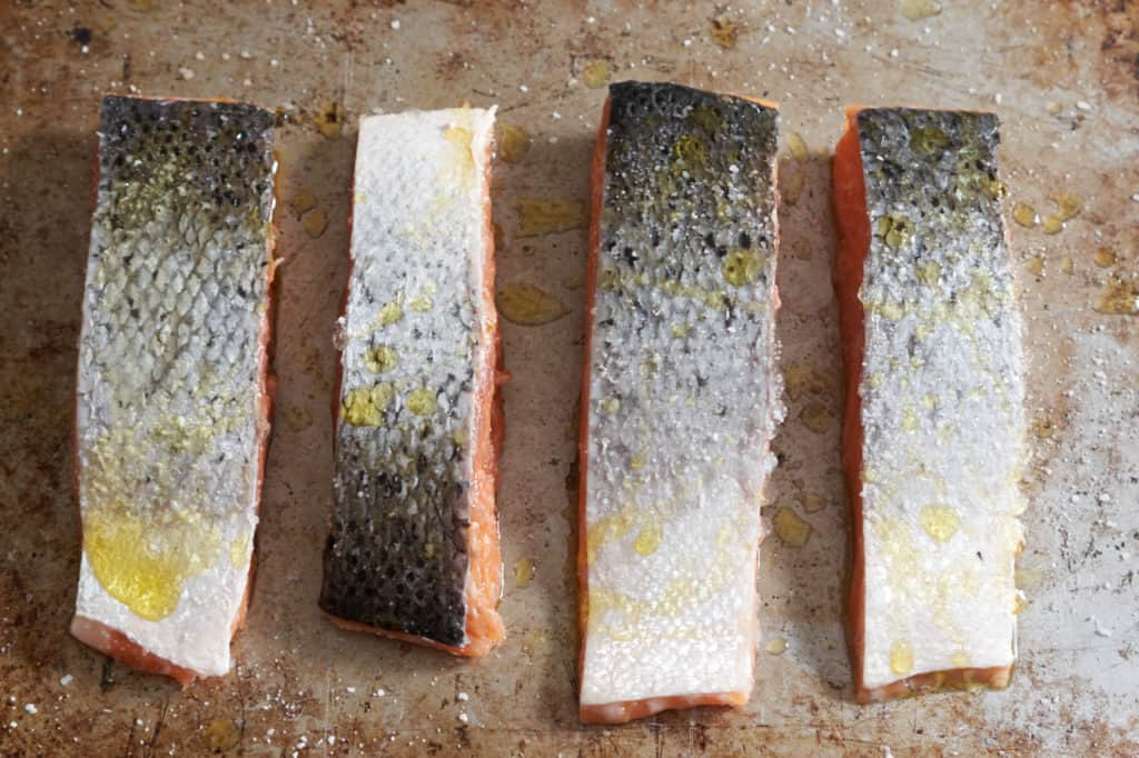 Four filets of raw salmon skin side up, seasoned with salt on a baking sheet.