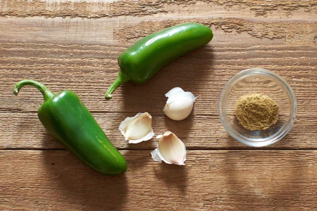 Jalapeños, garlic cloves and cumin