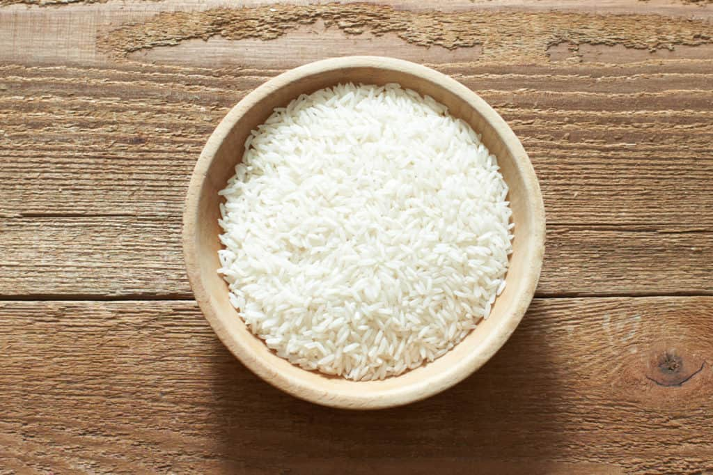 White rice in a wooden bowl.