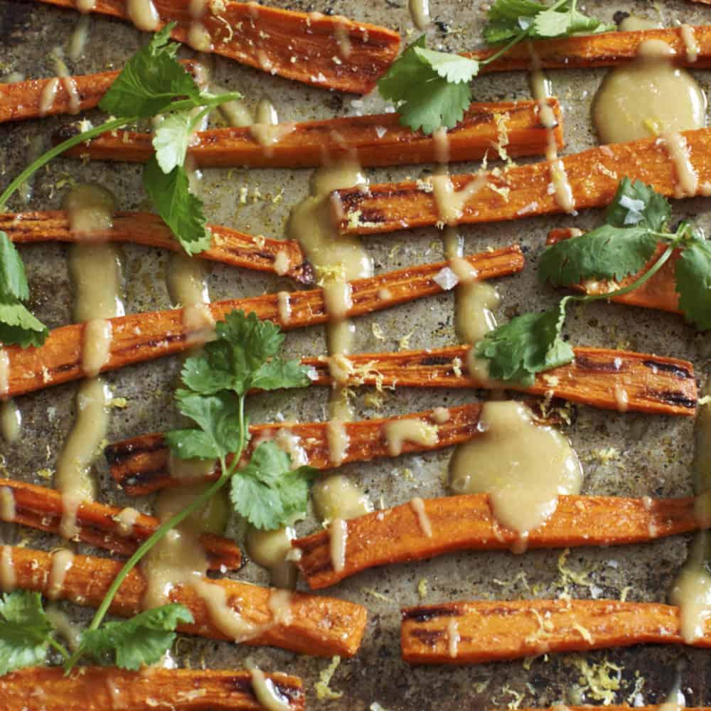 Carrots with tahini sauce