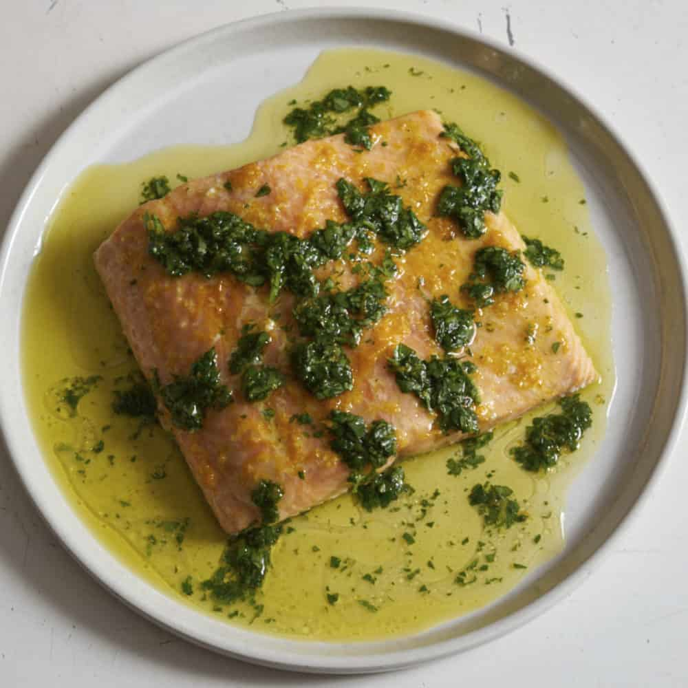 Salmon with herb salsa verde