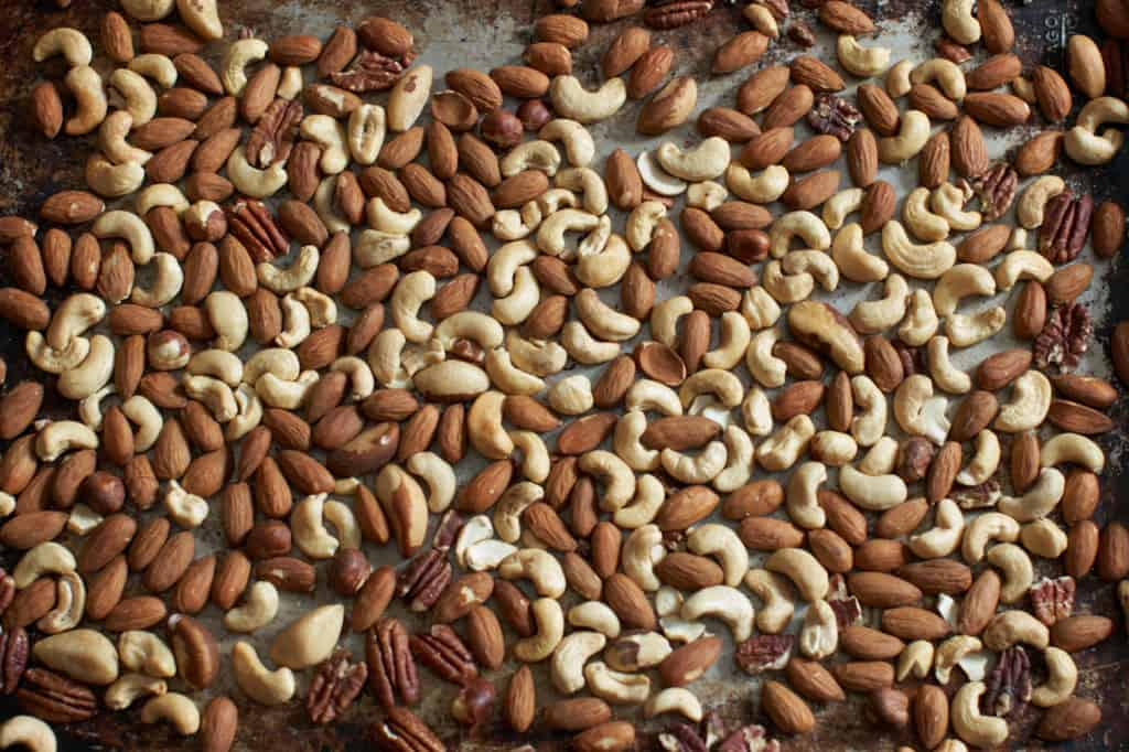 roasted nuts on a sheet pan