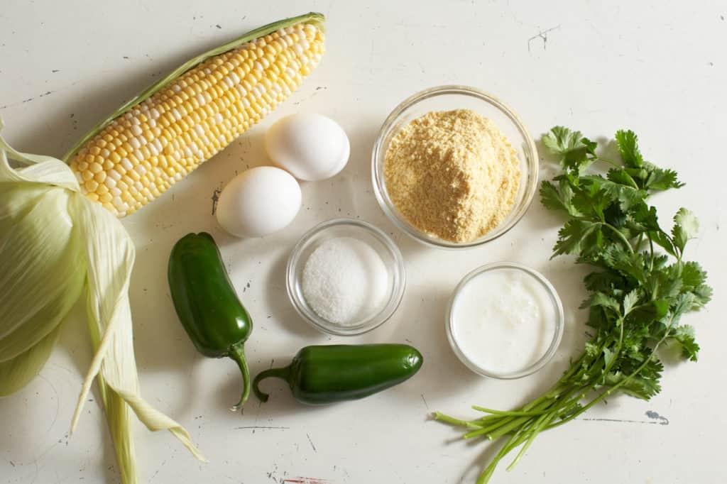 Corn on the cob, eggs, jalapeños, cilantro, sugar and buttermilk.