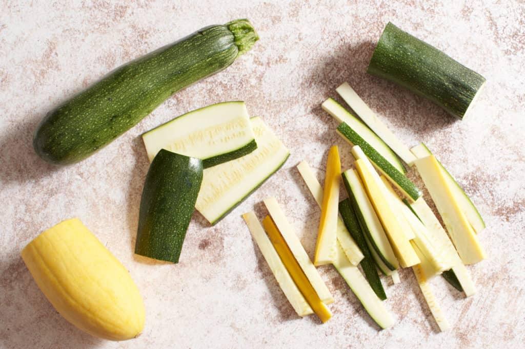 Zucchini and squash cut into batons.